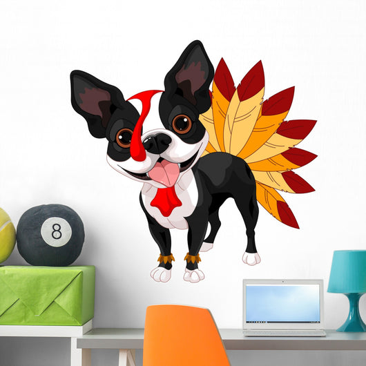 Thanksgiving Boston Terrier Wall Decal