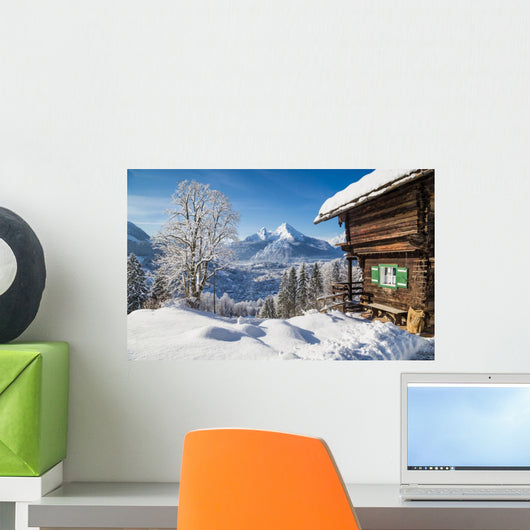 Winter Alps Mountain Chalet Wall Decal