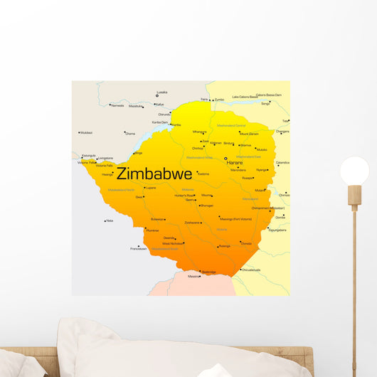 Map Zimbabwe Country Wall Decal
