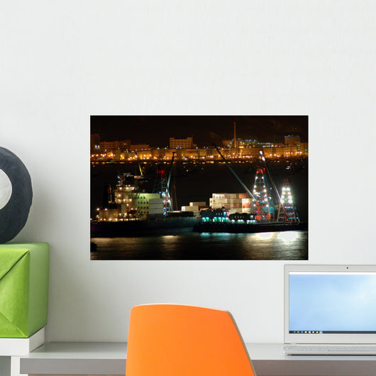 Cargo Ships Work Night Wall Decal