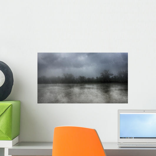 Heavy Rain over River Wall Decal