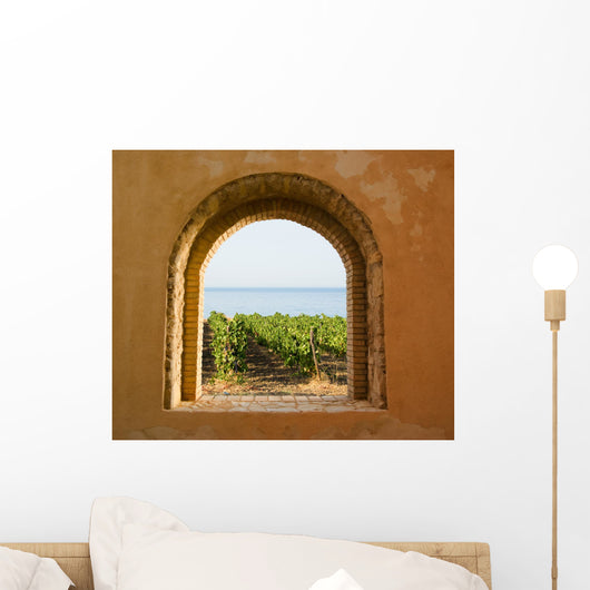 Arched Vineyard Window Wall Decal