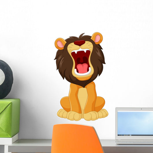 Cartoon Happy Lion Roaring Wall Decal