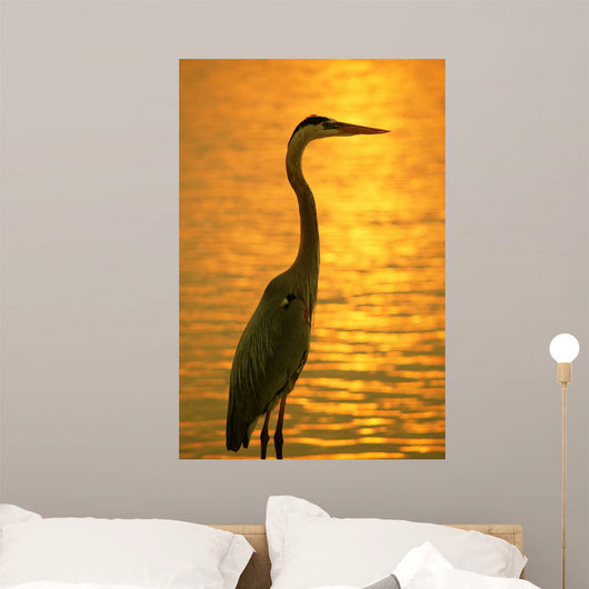 Blue Heron Sunset Wall Decal