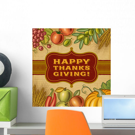 Vintage Happy Thanksgiving Card Wall Decal