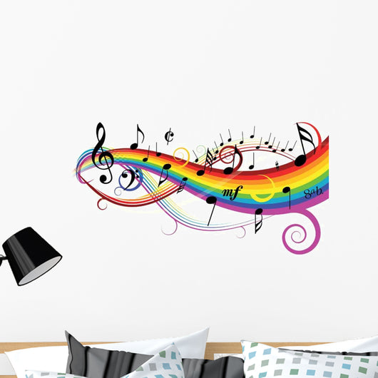 Notes on White Background With Rainbow Wall Decal