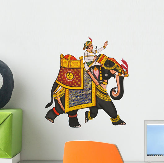 rajas-than jaipur elephant wall decal – wallmonkeys