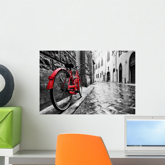 Retro Vintage Red Bike Wall Decal
