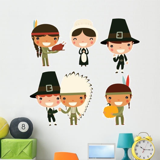 Cute Thanksgiving Kids Wall Decal Sticker Set