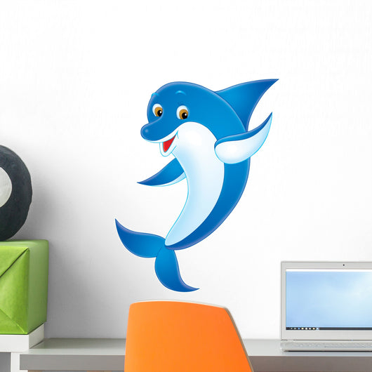 Blue Cartoon Dolphin Wall Decal