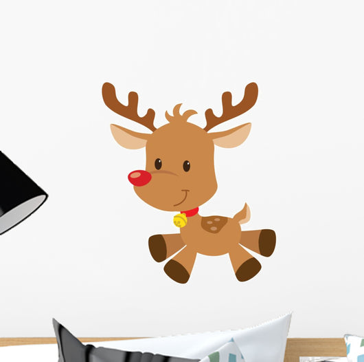 Christmas Reindeer Vector Illustration Wall Decal