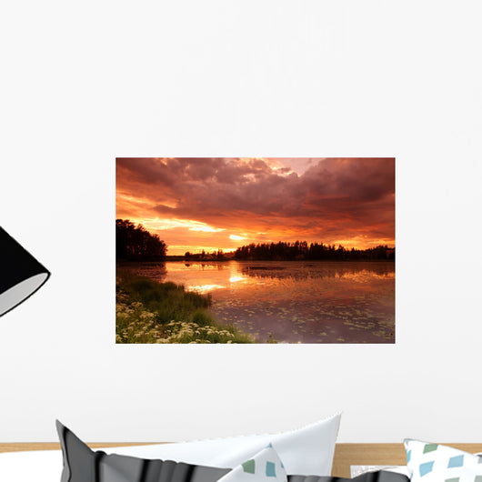 Lake Sunset with Reflection Wall Decal