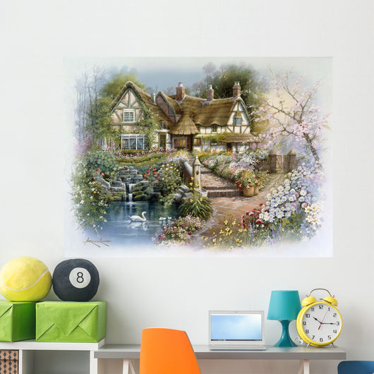 Cottage Scene With Swan Wall Decal