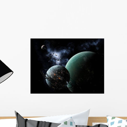 Massive Space Station Orbits Wall Decal