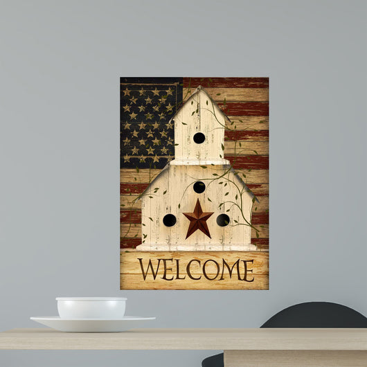 Americana Welcome Birdhouse Wall Mural