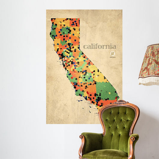 California County Map Wall Mural