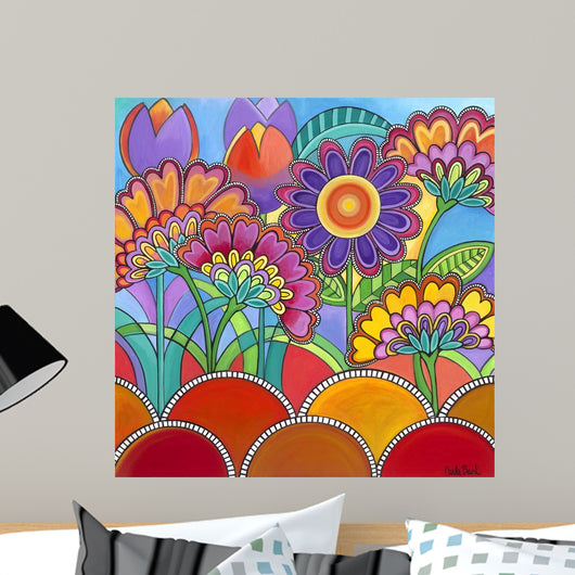 Square Flowers Wall Mural