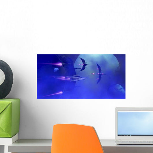 Starships Blast past Blue Wall Decal