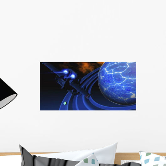 Spacecraft Flies near Ice Wall Decal