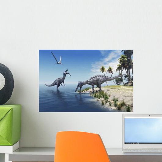 Suchomimus Dinosaurs Feed Fish Wall Decal