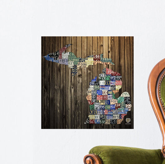 Michigan Counties License Plate Wall Mural