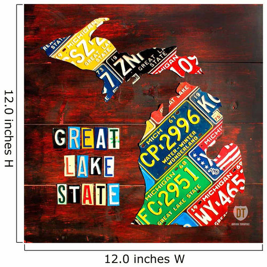 Michigan License Plate Map Large Wall Mural