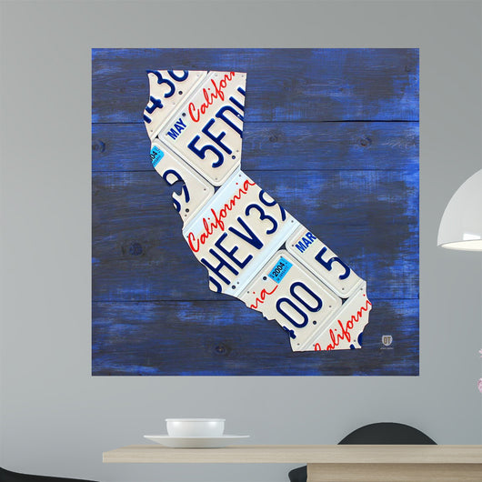 California License Plate Map Wall Mural
