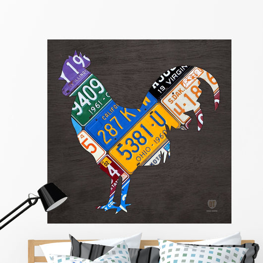 License Plate Art Rooster Wall Mural