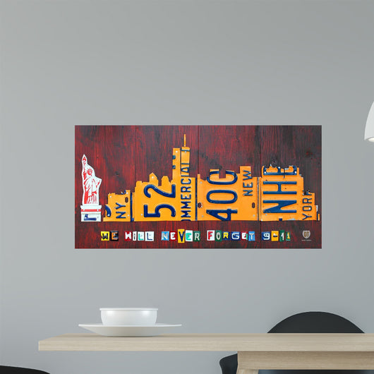 NYC License Plate Art Skyline 911 Version Wall Mural
