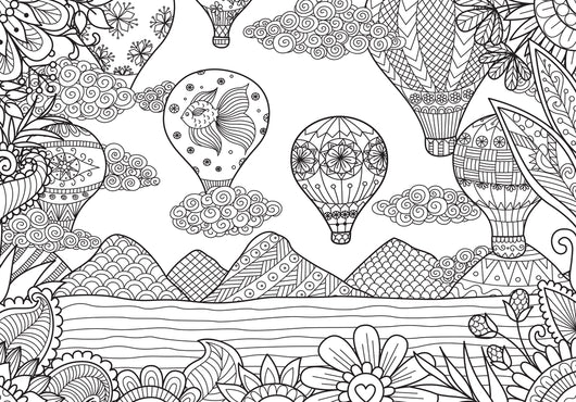 Hot Air Balloon Coloring Page Decal