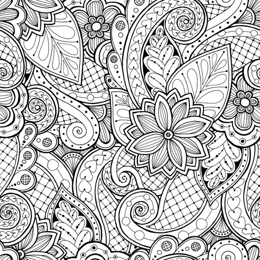 Seamless Floral and Leaves Pattern Coloring Page Decal