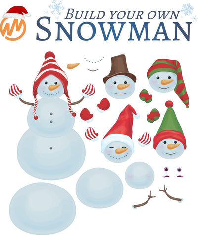 Build Your Own Snowman Peel and Stick Decal