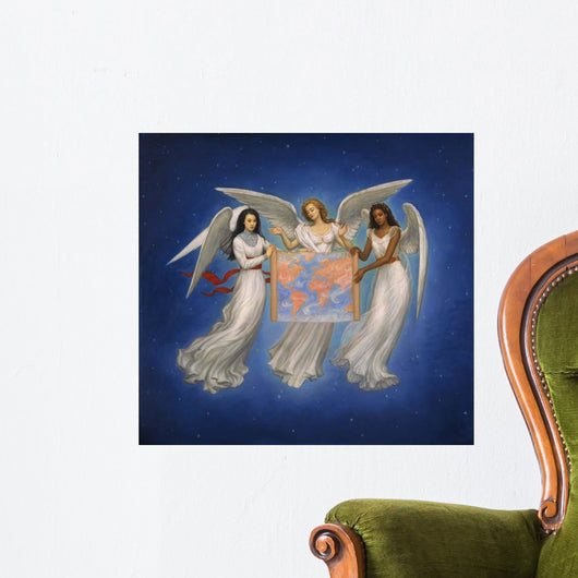 Angels with map Wall Mural