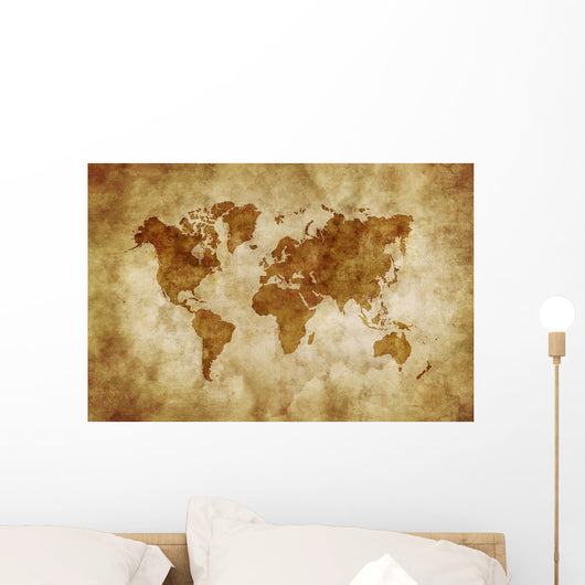 Aged World Map on Dirty Paper Wall Mural