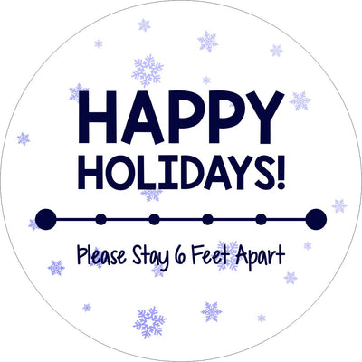 Holiday Floor Decal | Happy Holidays Stay 6 Feet Apart 12