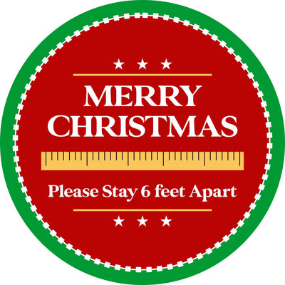 Holiday Floor Decal | Merry Christmas Stay 6 Feet Apart 12