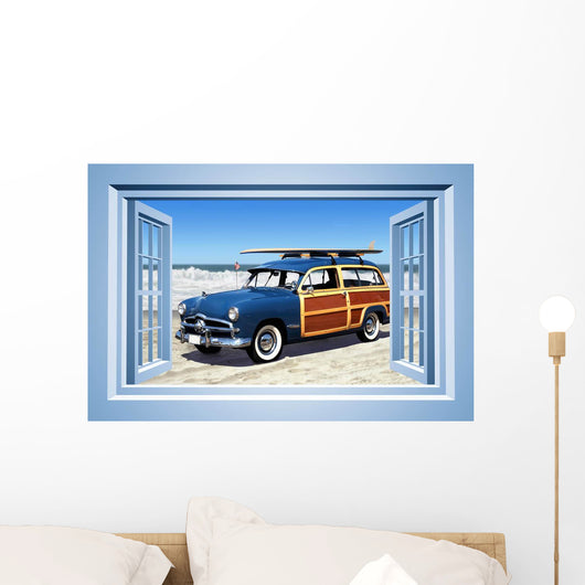 Woodie Car Beach Wallmonkeys Wall Decal