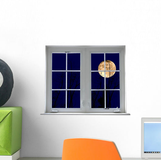 Yellow Moon Window Mural Wall Decal