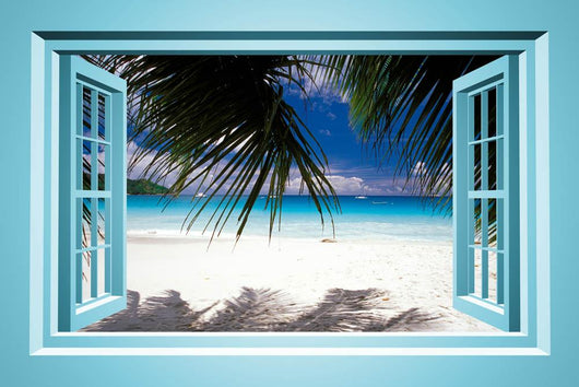 African Paradise Faux Window Wall Decal