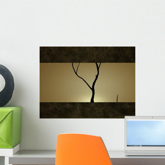 Illustration Tree against Sunset Wall Decal