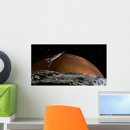 Spaceship Orbit over Mars Wall Decal