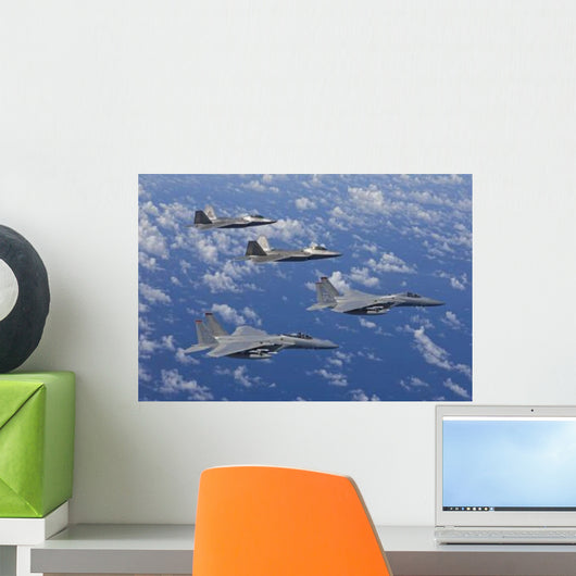 Two F-15 Eagles and Wall Decal