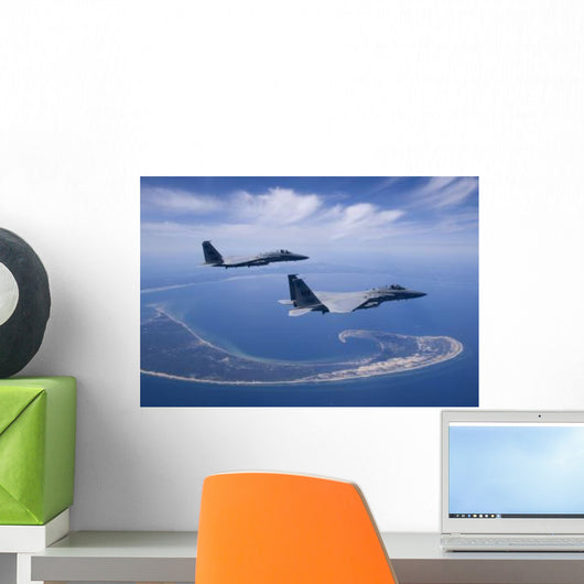 Two F-15 Eagles Fly Wall Decal Design 2