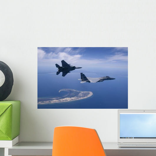 Two F-15 Eagles Fly Wall Decal Design 1