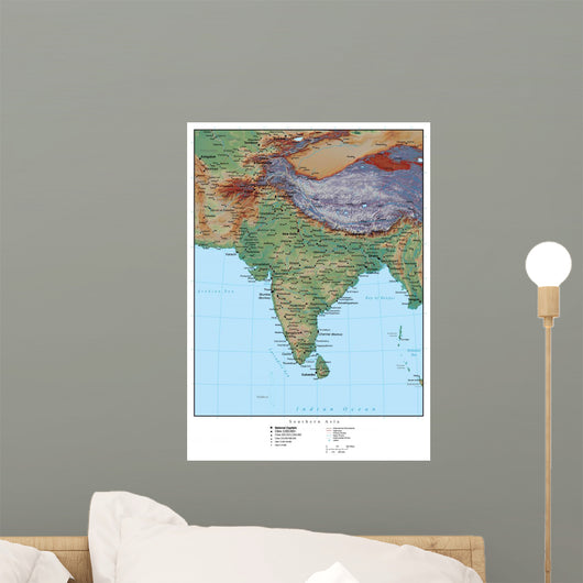 Geographical Map India Wall Mural Wallmonkeys Com