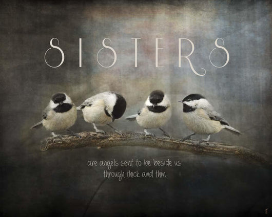 Sisters Chickadees Wall Mural