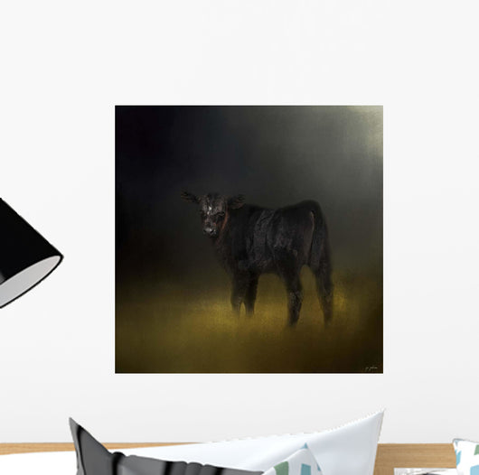 Black Angus Calf In The Moonlight Wall Mural