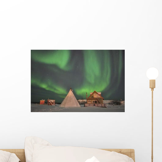Northern Lights above Village Wall Decal Design 3