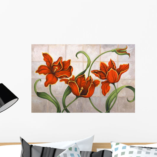 Parrot Tulips Wall Mural