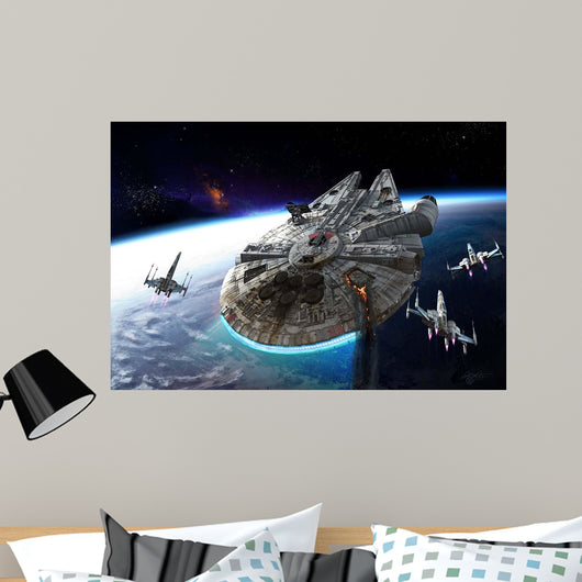Millenium Falcon Being Escorted Wall Mural